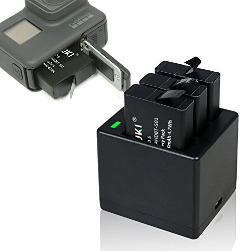 Rapid 3-Channel Battery Charger with USB Cable for GoPro Hero 5 Hero 6 Black Hero 7 Black by Ailuki