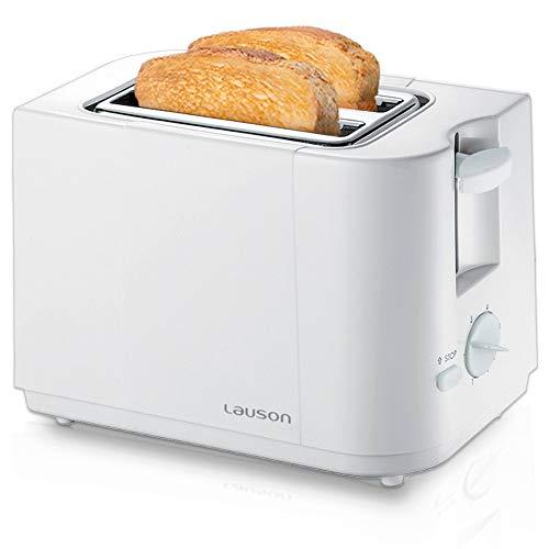 Lauson Tostapane per una lunga fetta de pane, controllo della tostatura per 6 diversi poteri, vassoio estraibile, antiscivolo e freddo, anti-jam, bianco ATT112 (19 cm)