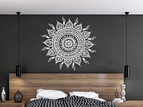 Mandala Wandtattoo | Mandala Lotus Blumendekor | Mehndi Wandaufkleber | Yoga Studio Aufkleber | Hergestellt in Polen | Oracal | Boho indisches Schlafzimmer | Mandala böhmische Wandkunst | NV63