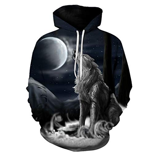 Men's Autumn 3D Wolf Head Casual Hoodies Women Plus Size Thick Sweatshirt Pullover W05706 Xs