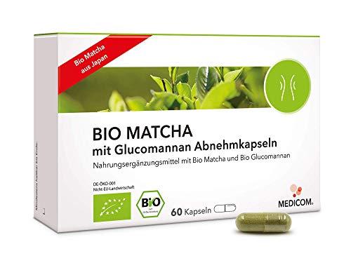 MEDICOM BIO MATCHA mit Glucomannan Abnehmkapseln • Bio-zertifiziert • Vegan • 1260 mg Matcha-Pulver-Extrakt pro empfohlener Tagesdosis • zur Diät & Gewichtskontrolle, 60 Kapseln