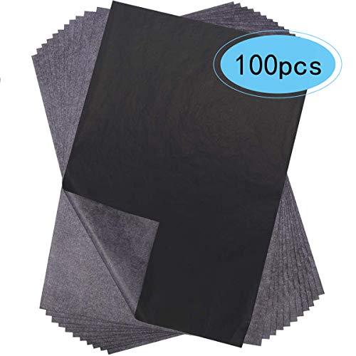100 piezas de papel de carbono negro papel de transferencia de carbono...