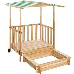 TecTake 800792 Piaskownica z dachem, dom zabaw z drewnianą piaskownicą, piaskownica z werandą i balustradą, piaskownica z osłoną przeciwsłoneczną - Różne kolory - (Zielony   403240)
