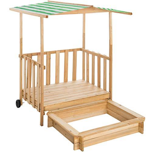 TecTake 800792 Bac à Sable Bois Massif Extérieur Enfant Cabane de Jardin avec Toit et Véranda 2 Roues 106 x 105 x 137 cm – Diverses Couleurs (Vert)