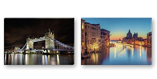 Dakota Cuadro con luz LED Impreso Calidad fotográfica. 60x40 cm. 2 diseños: Londres o Venecia 1 Unidad