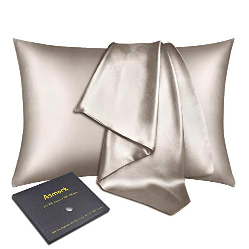 Asmork 100% Mulberry Silk Pillowcase for Hair and Skin, Both Side 22mm Natural Silk Pillowcase Cover, Hidden Zipper, Comfortable & Luxury, 1PC (Beige, Standard 20''×26'')