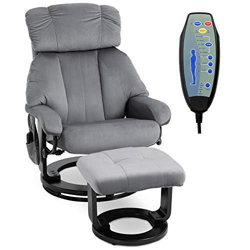 HOMCOM Massagesessel, Fernsehsessel mit Hocker, Heizfunktion+Liegefunktion+Massagefunktion, Grau, 76 x 80 x 102 cm