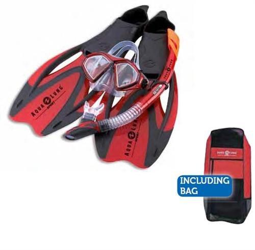 AQUALUNG Proflex X - Schnorchelset incl. Tasche + Original Seadrops Maskenclear Scubapro (rot, 36-38)
