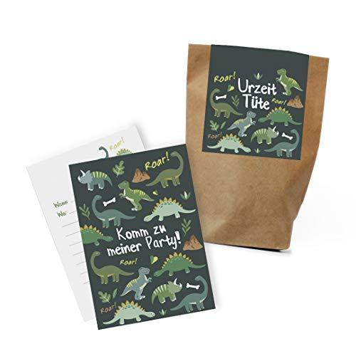 """12x \""""Dinosaurier\"""" Einladungskarten + Partytüten - Set zum Kindergeburtstag / Dinoparty / Einladungen / Mitgebseltüten / Geschenktüten / Give-aways / Geburtstag / plastikfrei / klimaneutral / Set"""
