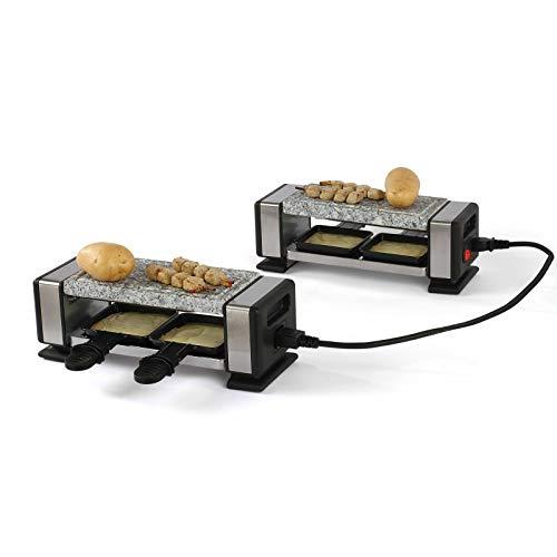 Raclette Grill Heißer Stein 2 bis 4 Personen Tischgrill Elektrogrill Kabelverbindung (4 Pfännchen, 700 Watt, Antihaftbeschichtung, Granit)