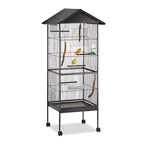 Cage à oiseaux avec toit Relaxdays