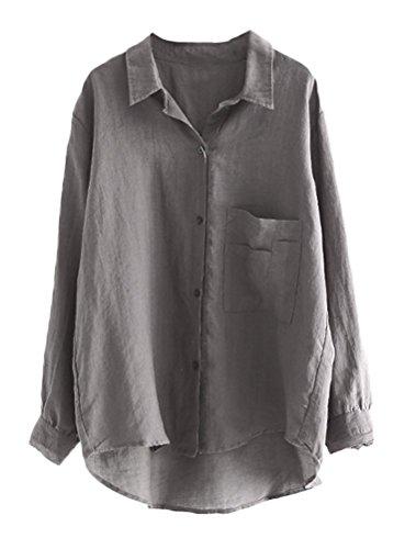 MatchLife Damen Bluse Leinen Elegant Langarm Casual Oberteil Lose Langarmshirt Tunika Hemd mit Taschen Grau 2XL(Fit EU44-48)