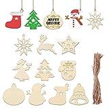 EXCEART - 100 adornos de Navidad de madera para colgar en el árbol de Navidad