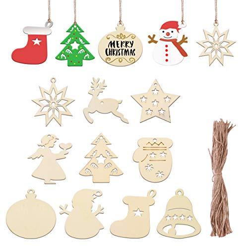 EXCEART 100 decorazioni natalizie in legno per albero di Natale, decorazioni da appendere, fai da te, decorazioni da appendere