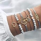 Yean Boho couches Bracelets tortue de bracelet avec perles en marbre pierre...
