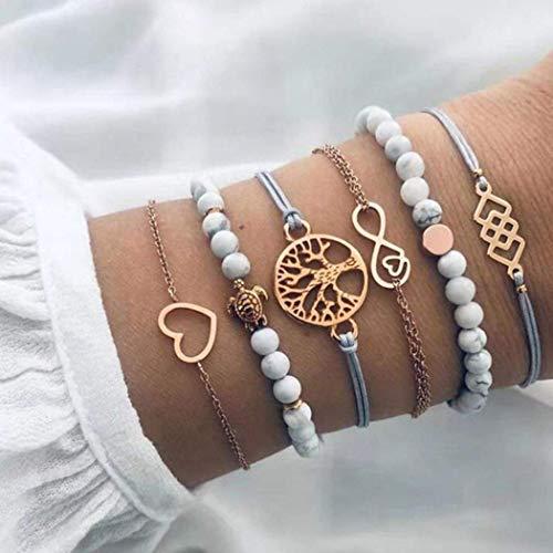 Yean Juego de 6 pulseras bohemias con cuentas de piedra de mármol, cadena de mano de árbol de oro ajustable, hecho a mano, accesorios para mujeres y niñas