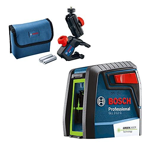 Nível Laser verde Bosch GLL 2-12 G alcance 12m com suporte e bolsa de proteção