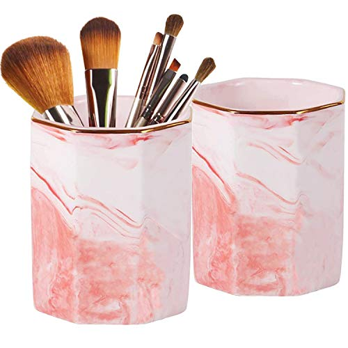 2 Pack Ceramic Pen Holder Stand,Cup for Desk Marble Pattern Makeup Brush Holder for Girls Women,Desk Accessories Holder,Durable Desktop Organizer Pencil Holder Pot Ideal Gift for Office Home (Pink)