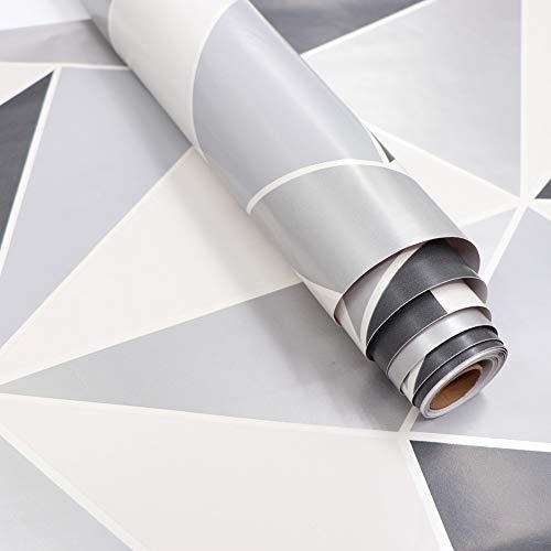 Fantasnight Klebefolie Möbel Grau Weiß Geometrie 45cm×200cm Wasserdicht Möbelfolie Selbstklebend Möbelfolie Selbstklebend Dekofolie Möbel PVC TapeteDünner Stil fü Möbel & Küche