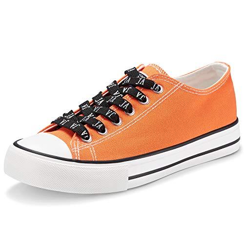 JENN ARDOR Damen-Sneaker aus Canvas, niedrig, zum Schnüren, modisch, bequem, flach,...