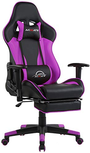 Acmate Gaming Chair Massage Gaming Computer Chair with Footrest Reclining Home Office Chair Racing Style Gamer Chair High Back Gaming Desk Chair with Headrest and Lumbar Support(Purple/Black) black chair gaming