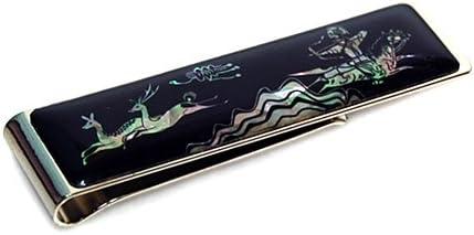 Mother of Pearl Ancient Horse Back Hunting Scene Design Slim Stainless Steel Mens Metal Black Money Clip Holder