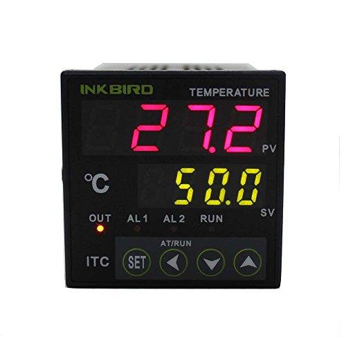Inkbird ITC-100RH PID Termostato Digital + PT100 Sonda, Double Relés 220V para Control la temperatura de Calefacción o Refrigeración con Alarm para Coche, Acuarios, Incubadora