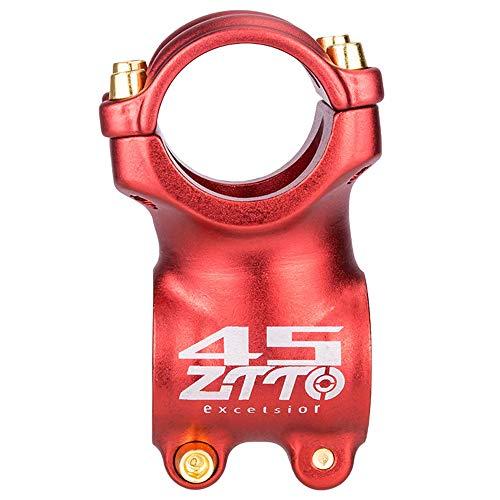 CARACHOME Bicicleta MTB Stem Ligero 45 mm 31.8mm Stem Bici de Carretera de Alta Resistencia Grava Tallo Corto El ángulo es: ± 7 °,Rojo