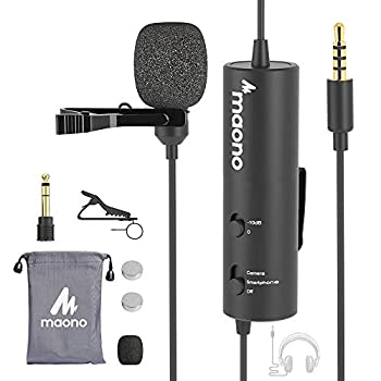 Lavalier Microphone with -10db attenuation MAONO Professional Lapel Clip on Mic with 3.5mm Headphone Jack for Recording Interview Compatible with iPhone Android Camera Computer AU-102