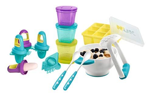 NUK Frischhaltedose Fresh Foods-Set, mit je 1x Pürierset, Eisförmchen, Gefrierform, 2x gratis Futterlöffel