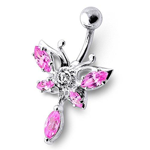 Crystal Stone Trendy vlinderdesign sterling zilver buik bars piercing