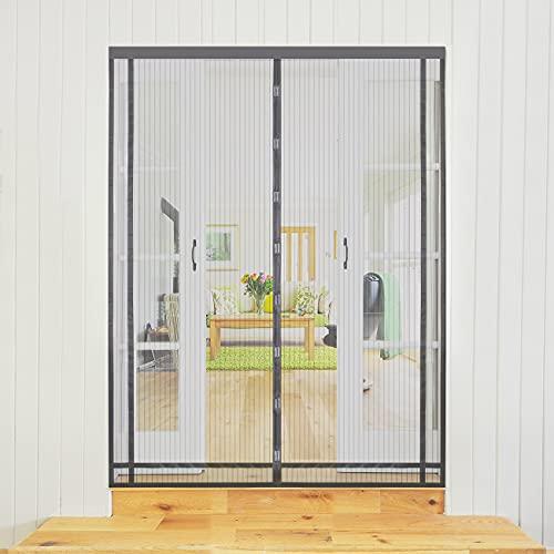 Sekey 130x220cm Magnetvorhang zum Insektenschutz, idealer magnetischer Fliegengitter für Balkontür, Kellertür, Terrassentür (zuschneidbar in Höhe und Breite) durch kinderleichte Klebemontage, Grau