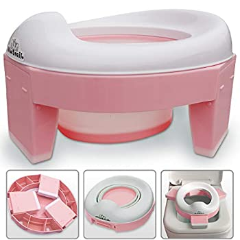 3-in-1 Go Potty for Travel Portable Folding Compact Toilet Seat,Potty Training Toilet Chairs for Toddler Boys & Girls with Storage Bag and Potty Liners by BlueSnail  Pink