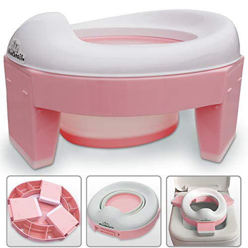 3in1 Go Potty for Trave Portable Folding Potty Training Toilet Trainiing Seat for Baby Boys amp Girls by BlueSnail Pink