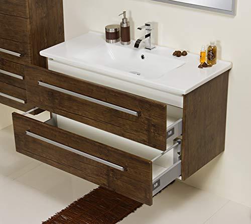 Quentis Badmöbel Serena 100, Keramikwaschtisch mit Unterschrank, Holzdekor antik, 2 Schubladen, Waschbeckenunterschrank montiert
