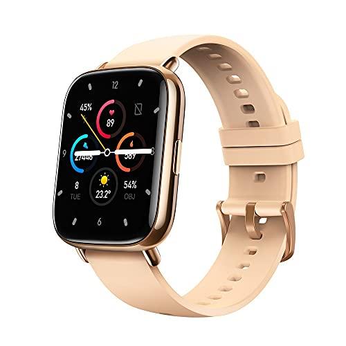 Reloj inteligente con pantalla táctil completa, podómetro de ejercicio, presión arterial, temperatura corporal, ritmo cardíaco dinámico, oxígeno en sangre (color: dorado)