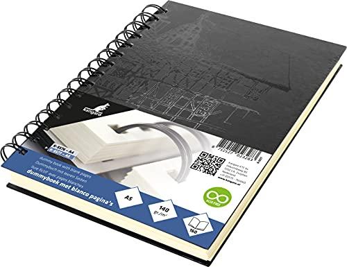 Skizzenbuch Kangaro A5 blanko, Wire-o, Hardcover, schwarz mit Druck, 140g creme Papier, K-5577