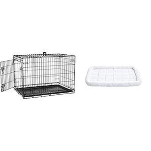 AmazonBasics - Jaula Plegable de Metal para Mascota (una Puerta, 91 cm Largo) + Cama Acolchada con rebordes para Mascotas: 89 x 56 cm