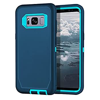 I-HONVA for Galaxy S8 Plus Case Shockproof Dust/Drop Proof 3-Layer Full Body Protection [Without Screen Protector] Rugged Heavy Duty Durable Cover Case for Samsung Galaxy S8 Plus Turquoise