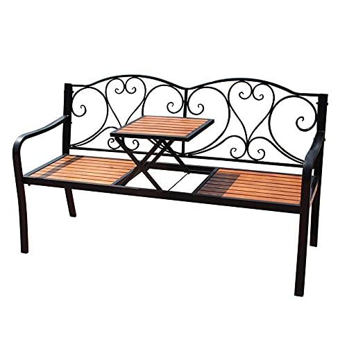 Banco de jardín para patio al aire libre de 59 pulgadas, marco de hierro fundido y mesa y silla de balcón de madera maciza anticorrosiva, banco de parque de metal con mesa central, para muebles de dec