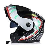 ABDOMINAL WHEEL Bluetooth Casco Moto,Casco Moto Modular ECE Homologado,Doble Visera Casco Moto Abatible,Unisexo para Motocicleta Bicicleta Scooter Cascos de Moto Modulares B,XL=(60~61)
