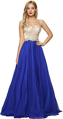 Meier Women's Sheer Beaded Illusion Prom Gowns Homecoming Party Dresses (Royal Blue, 10)