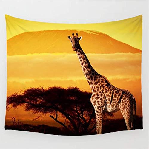 Giraffe, dekorativ, bedruckt, realistischer Mandala-Druck, Hippie-Boho-Tapete, Wandteppich, 150 x 200 cm