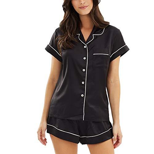 Conjunto de pijamas de satén para mujer, manga corta, con botones, satén sedoso, 2 piezas