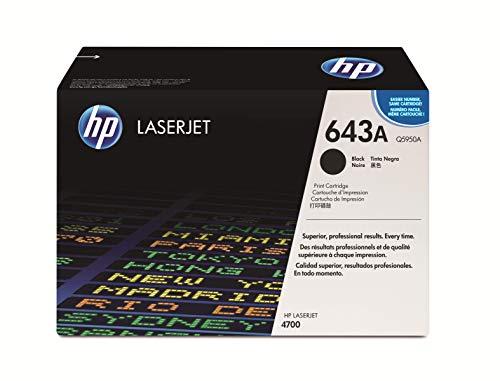 HP 643A Q5950A Negro, Cartucho Tóner Original, de 11.000 páginas, para impresoras HP Color LaserJet 4700, 4700dn, 4700dtn, 4700n, y 4700ph+