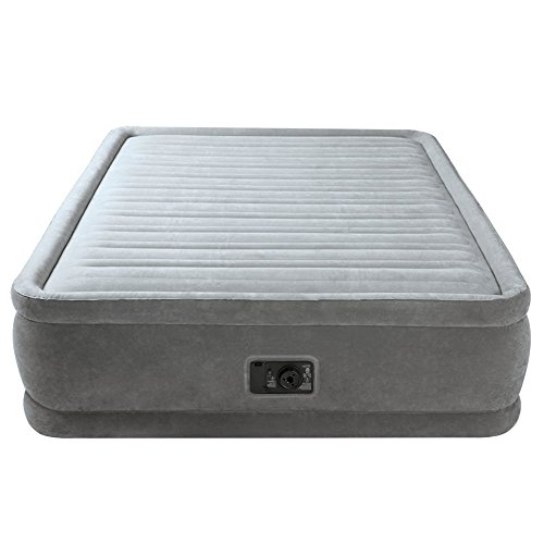 Air Mattress With Pump. This Pure Comfort Raised Queen Size Blow Up Airbed With Separate Electric Pump For Two Adults Indoor Or Outdoor Use. Raised Inflatable Bed Is Best As Camping Or Guest Bed.