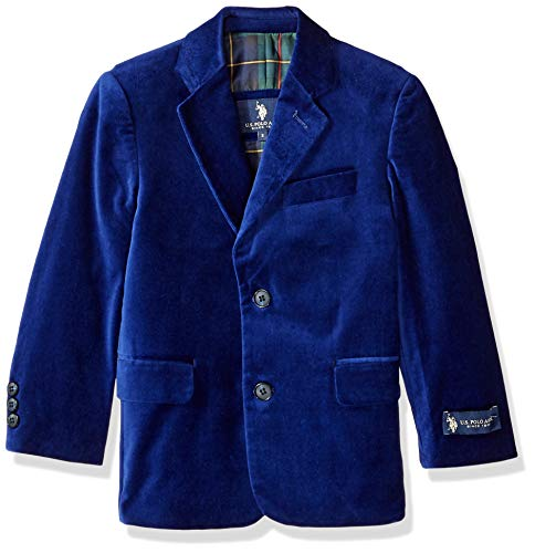 U.S. Polo Assn. Boys' Little Velvet Blazer, Blue, 5