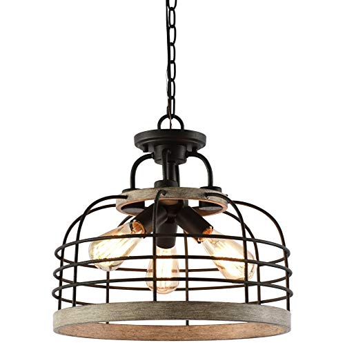"Kira Home Sawyer 16.5"" 3-Light Industrial Farmhouse Semi Flush Convertible Pendant Chandelier Light with Cage Shade, Rustic Light Cedar Wood Style + Textured Black Finish"