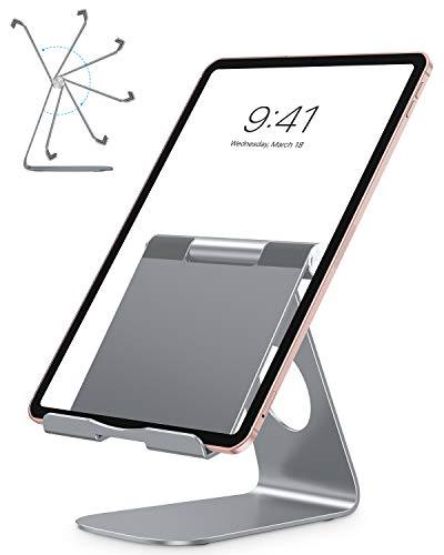 OMOTON Supporto Tablet Regolabile, Porta Tablet, Dock da Tavolo per Corsi Online e Video, Universale Stand in Alluminio per iPad Air 4, iPad 8, PRO 12.9, Samsung Galaxy Tab, Altri Tablet, Grigio