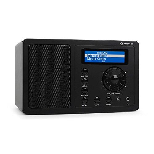 auna IR-130 WH - Internetradio, Digitalradio, WLAN-Radio, Breitbandlautsprecher, Streamen, über 8000 Internetradio-Stationen, Line-Ausgang, Uhrzeitanzeige, Weckfunktion, schwarz